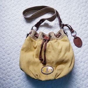 Fossil purse mustard bucket bag canvas fall bag